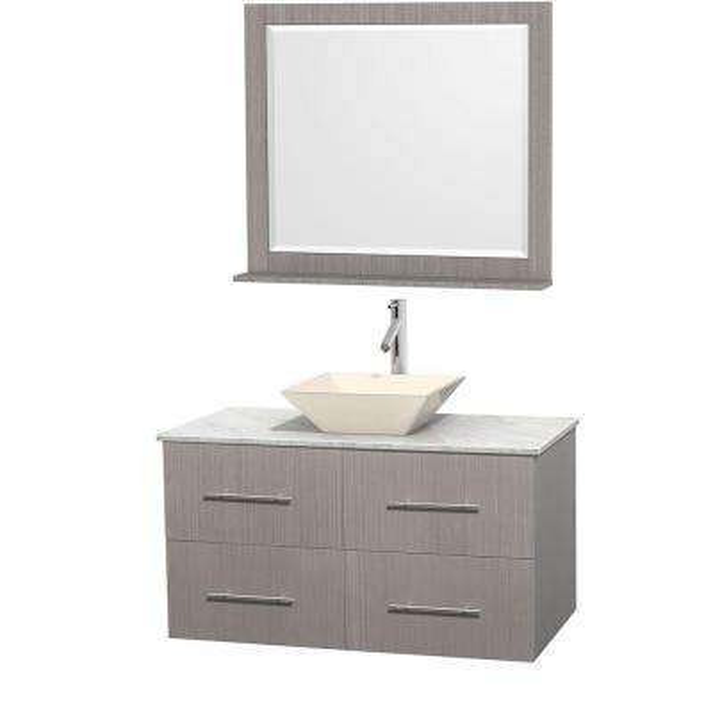 Centra 42 in. Vanity in Gray Oak with Marble Vanity Top in Carrara White, Bone Porcelain Sink and 36 in. Mirror