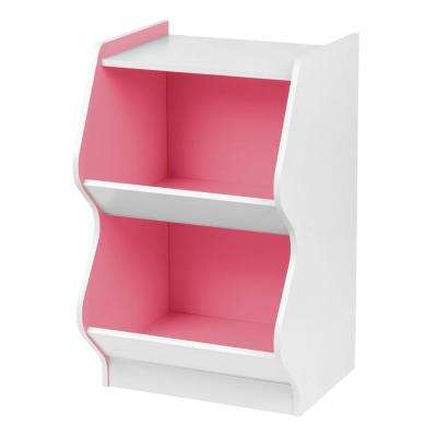 White and Blue 2 Tier Curved Edge Storage Shelf