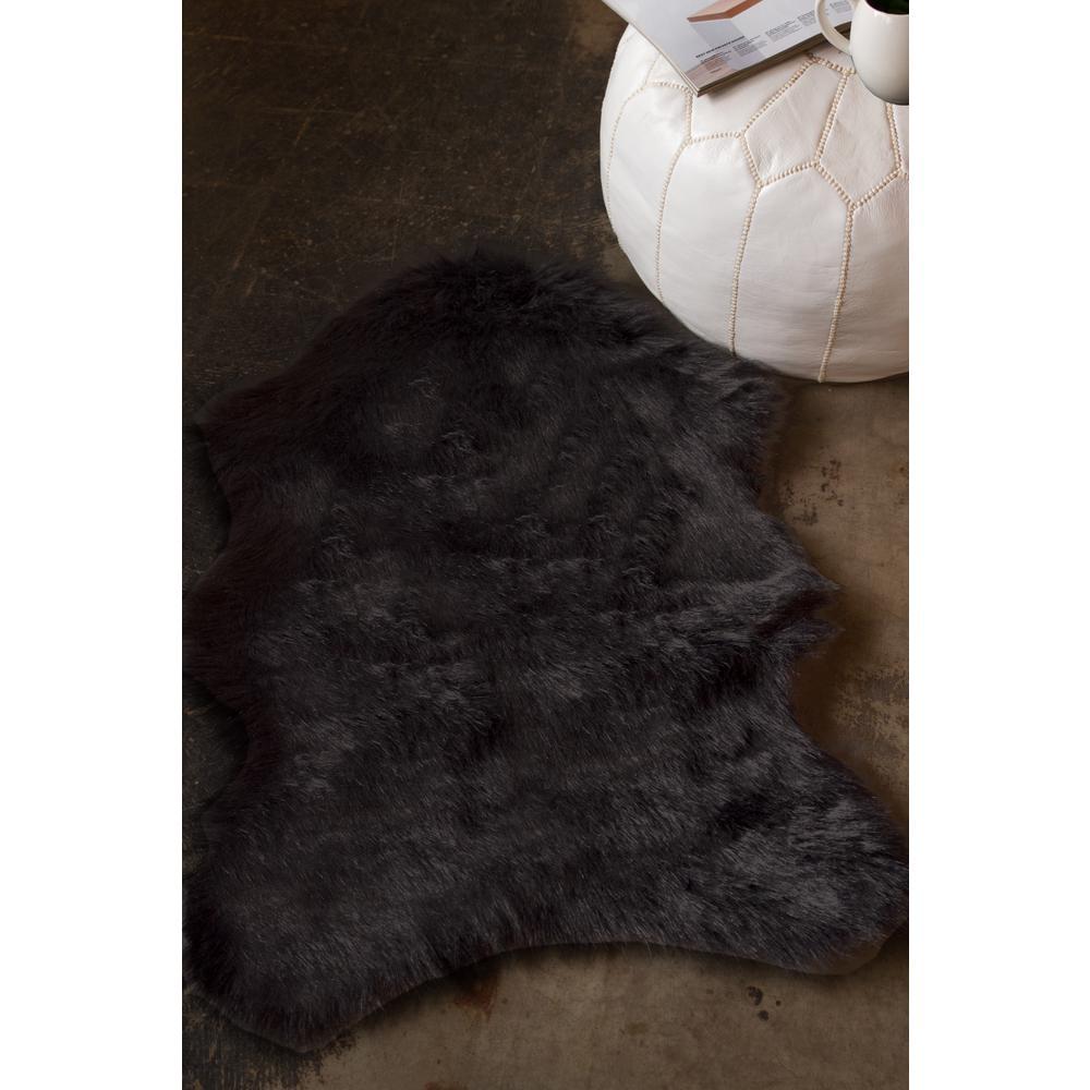 Luxe Faux Fur Gordon Black 2 Ft X 3