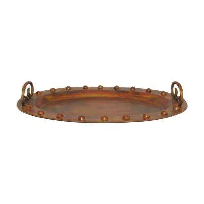 Mission 27 in. x 20 in. Decorative Ottoman Tray in Burned Copper