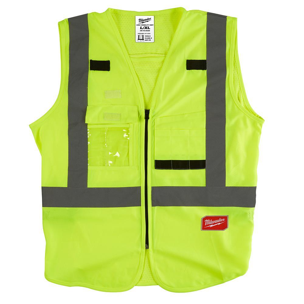 4 Pockets Security Pioneer Safety Vest for Men Orange Yellow//Green Zipper Black Snap Break Away Hi Vis Traffic Construction Reflective Stripes