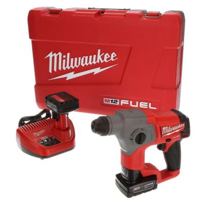 M12 FUEL 12-Volt Lithium-Ion 5/8 in. Brushless Cordless SDS-Plus Rotary Hammer Kit W/(2) 4.0h Batteries & Hard Case
