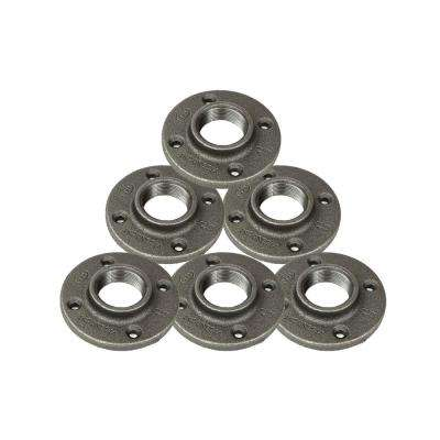 1-1/2 in. Black Malleable Iron FPT Floor Flange (6-Pack)