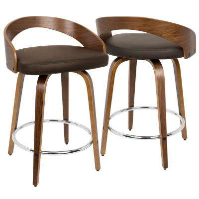 Grotto Walnut and Brown Swivel Counter Stool