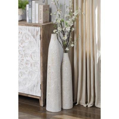 "Irridescent Silver 32"" Large Oversized Ceramic Vase"