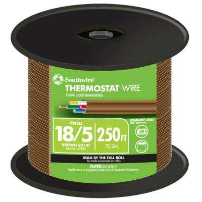 250 ft. 18/5 Brown Solid CU CL2 Thermostat Wire
