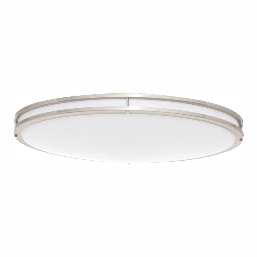 EnviroLite 32 in  Brushed Nickel/White Low Profile LED Ceiling Flush Mount