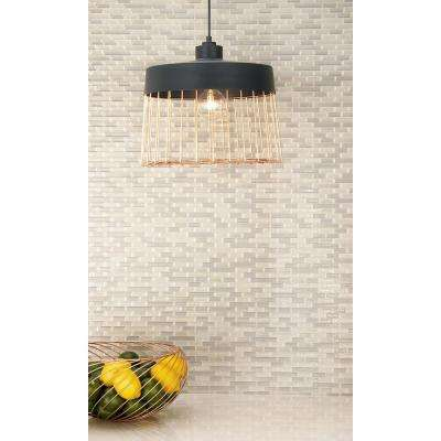 Industrial 1-Light Drum-Shaped Iron Grid Shade with Rose Gold Accents