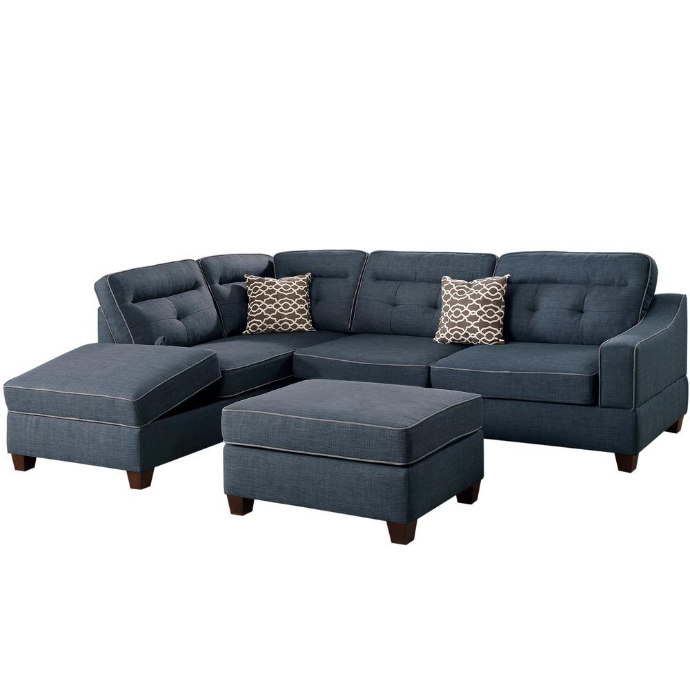 Venetian Worldwide Capri 3 Piece Dark Blue Sectional Sofa With Storage  Ottoman VENE F6523   The Home Depot