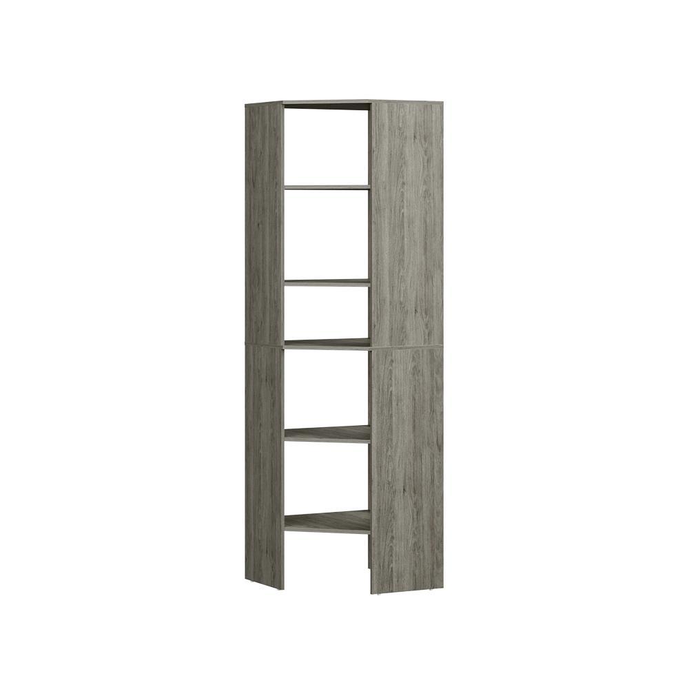 Style+ 25 in. D x 25 in. W x 82 in. H Coastal Teak Melamine 6-Shelves Corner Closet System