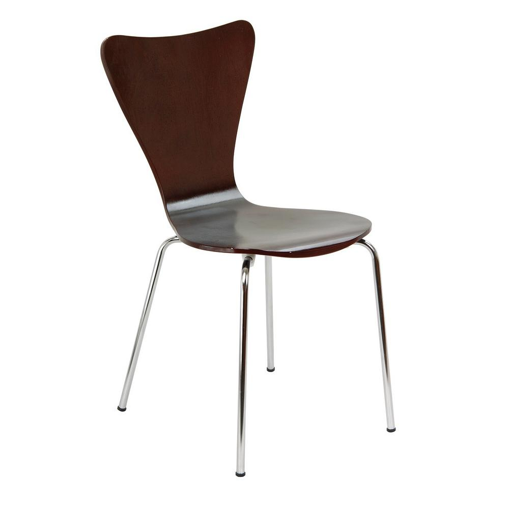 Legare Bent Plywood Expresso Stack Chair With Chrome Plated Metal Legs