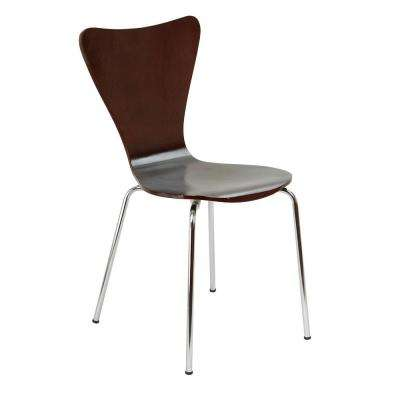 Bent Plywood Expresso Stack Chair with Chrome Plated Metal Legs