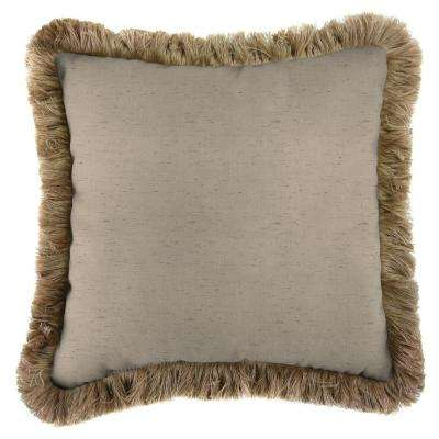 Sunbrella Frequency Sand Square Outdoor Throw Pillow with Heather Beige Fringe