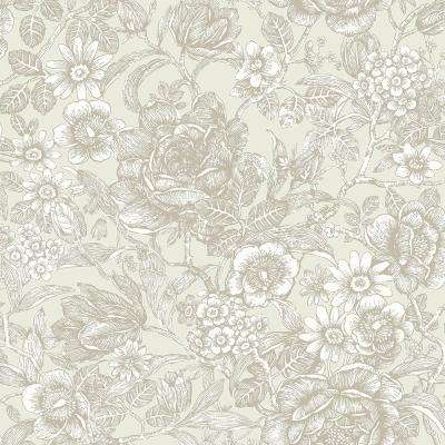 56.4 sq. ft. Hedgerow Wheat Floral Trails Wallpaper