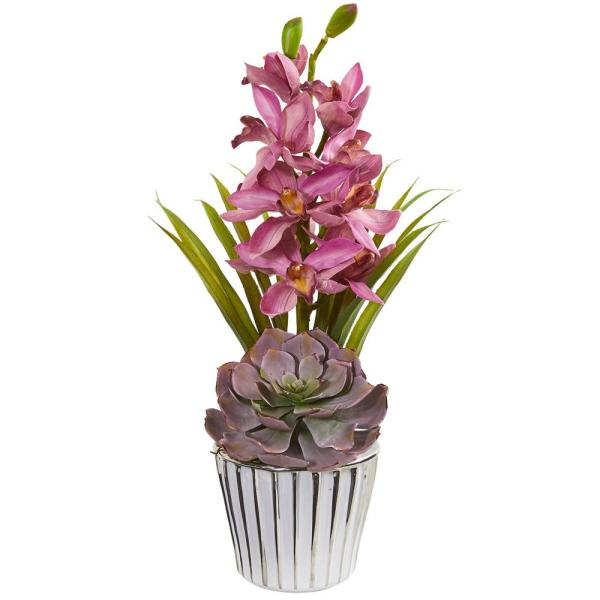 Nearly Natural Cymbidium Orchid and Succulent Artificial Arrangement 1934-MA