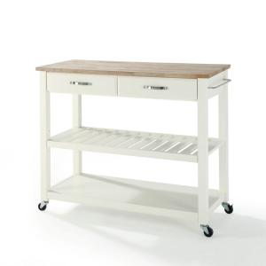 Crosley White Kitchen Cart With Natural Wood TopKFWH The - Crosley kitchen island cart natural wood top