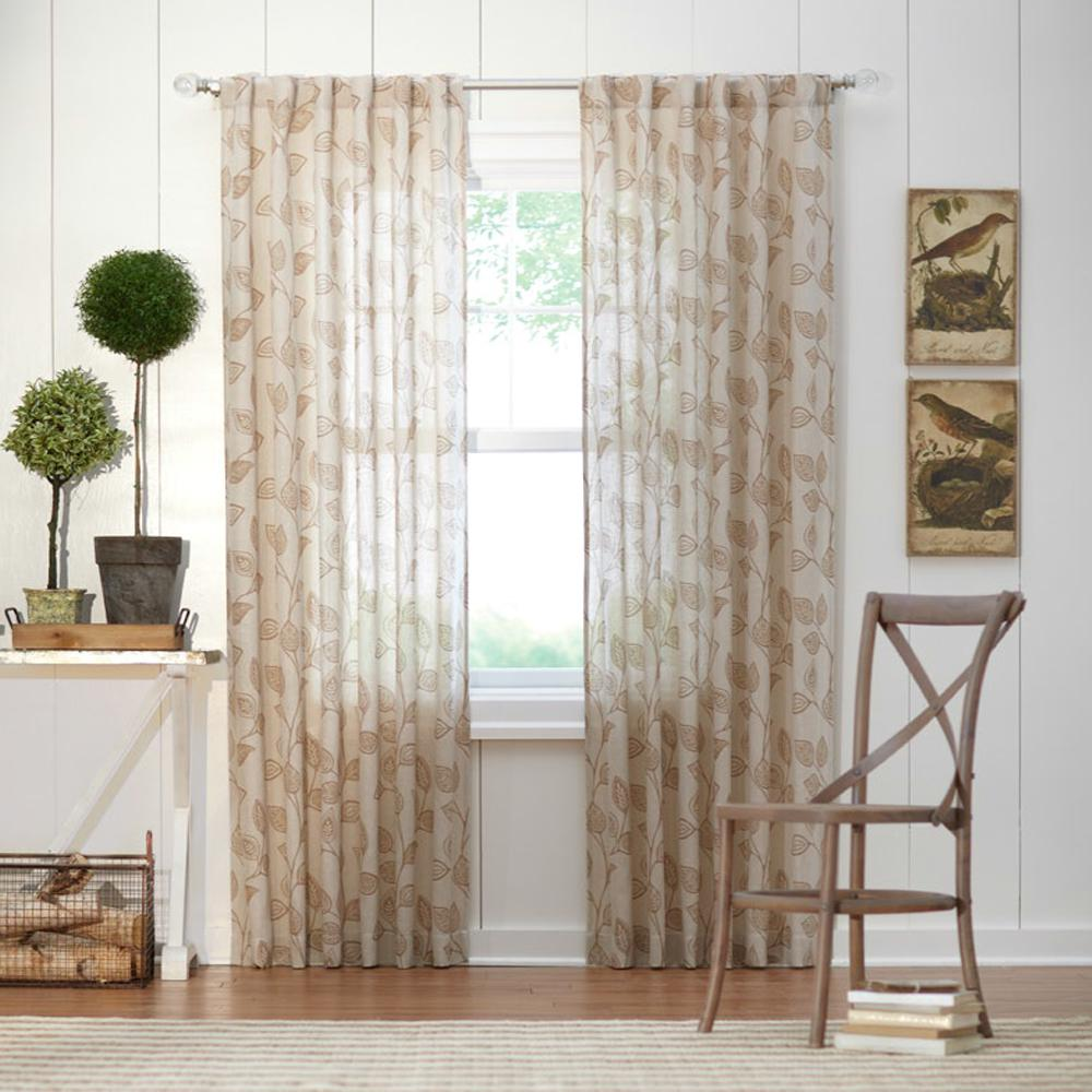 Home Decorators Collection. Leaf Light Filtering Window Panel In Taupe   50  In. W X 84 In. L