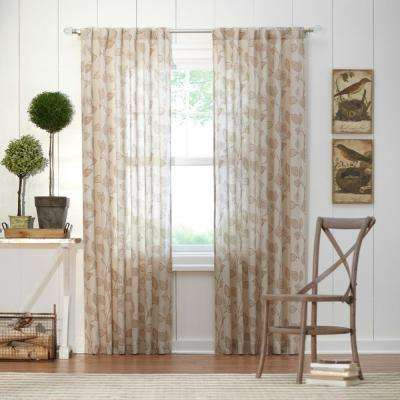 Leaf Light Filtering Window Panel in Taupe - 50 in. W x 108 in. L