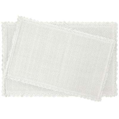 Reversible Crochet Beaded 17 in. x 24 in./20 in. x 34 in. Bath Rug Set, White