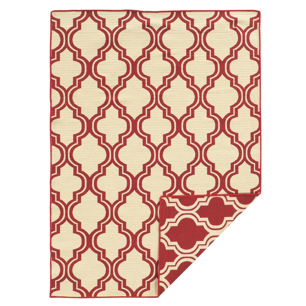 Salonika Quatrefoil Red And Natural 5 Ft X 8 Reversible Area Rug