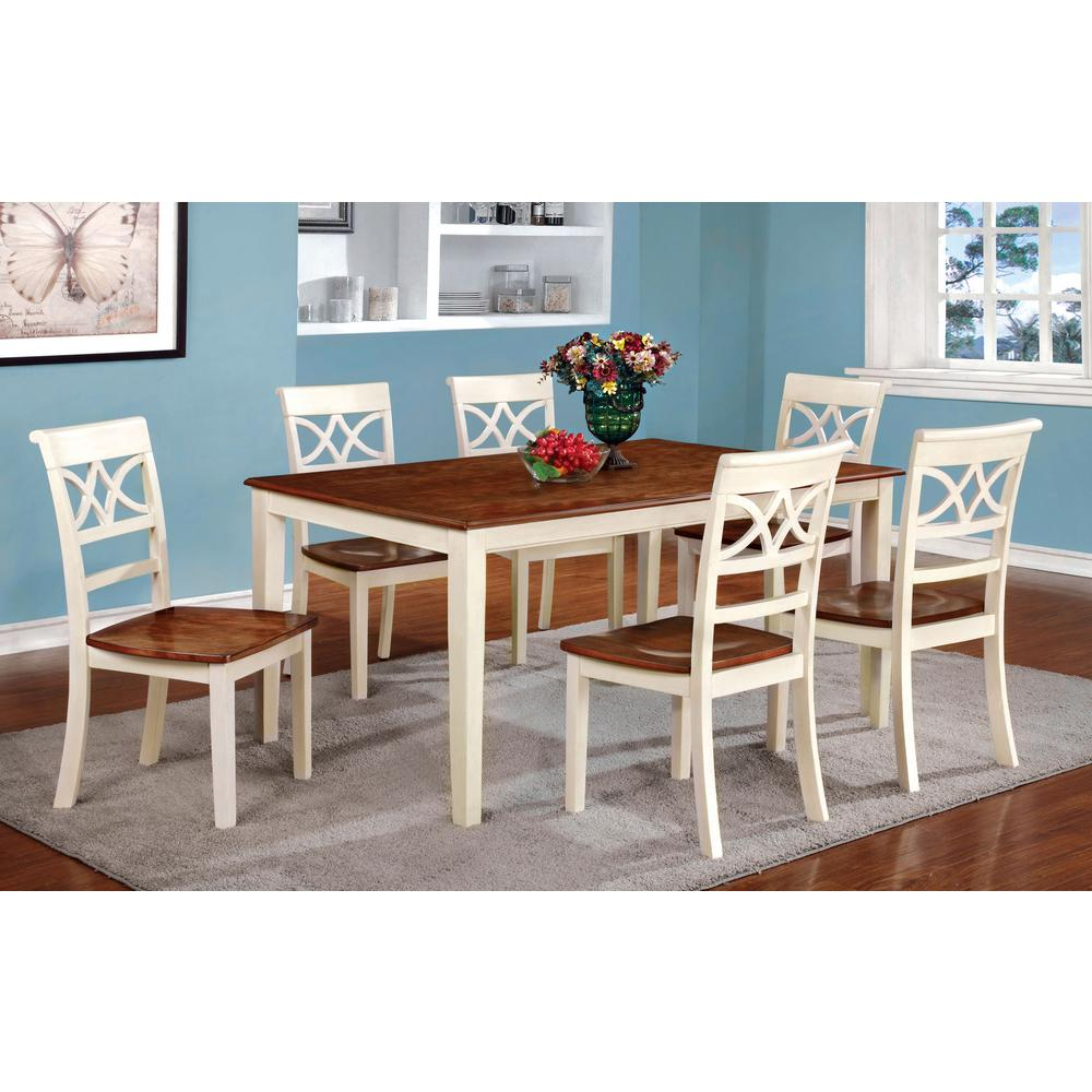 Torrington Vintage White And Cherry Transitional Style Dining Table