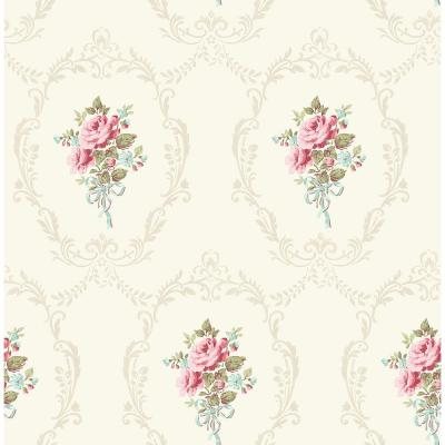 8 in. x 10 in. Camellia White Floral Cameo Wallpaper Sample