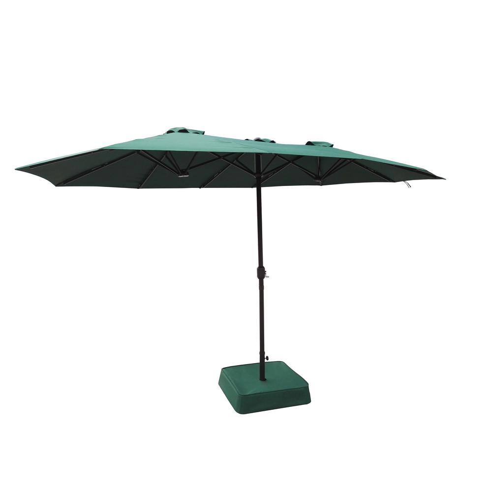 Hampton Bay 8.8 ft. x 14 ft. Triple Vent Market Patio Umbrella in Hunter Green with Sand Bag Base