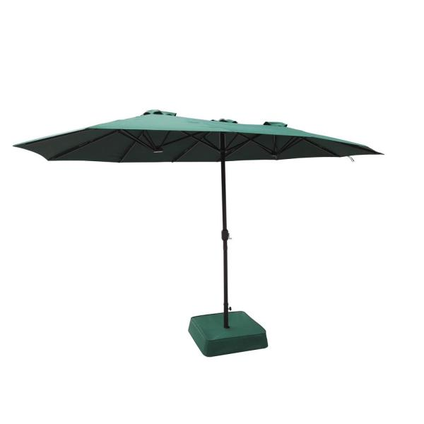 8.8 ft. x 14 ft. Triple Vent Market Outdoor Patio Umbrella in Hunter Green with Sand Bag Base
