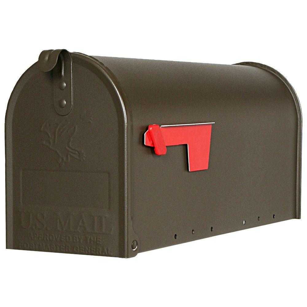 Gibraltar Mailboxes Elite Medium Galvanized Steel Post-Mount Mailbox, Bronze