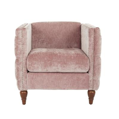 Evie Rose Fabric Tufted Chair with Coffee Legs