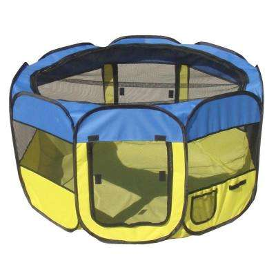 All-Terrain Lightweight Easy Folding Wire-Framed Collapsible Travel Dog Playpen - Blue/Yellow - MD