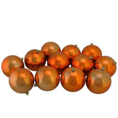 shiny orange shatterproof christmas ball ornaments 12 count - Orange Christmas Decorations