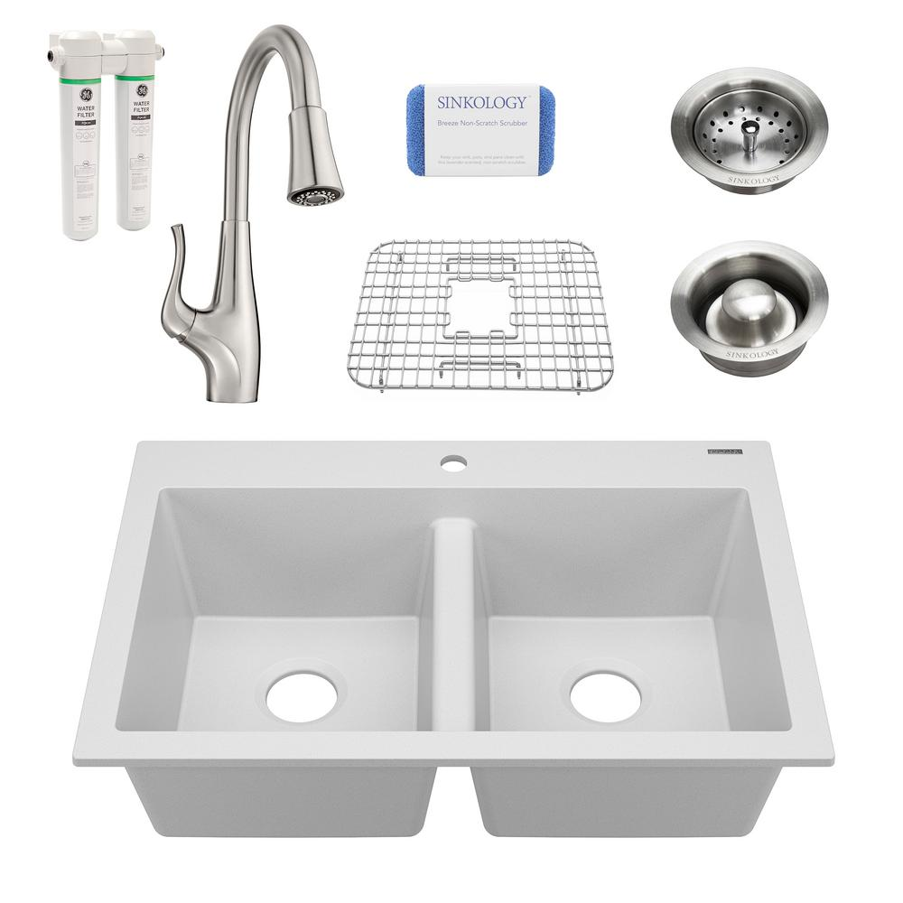 SINKOLOGY Whitney All-in-One Drop-In Granite Composite 33 in. 1-Hole Double Bowl Kitchen Sink with Pfister Faucet in Canvas White