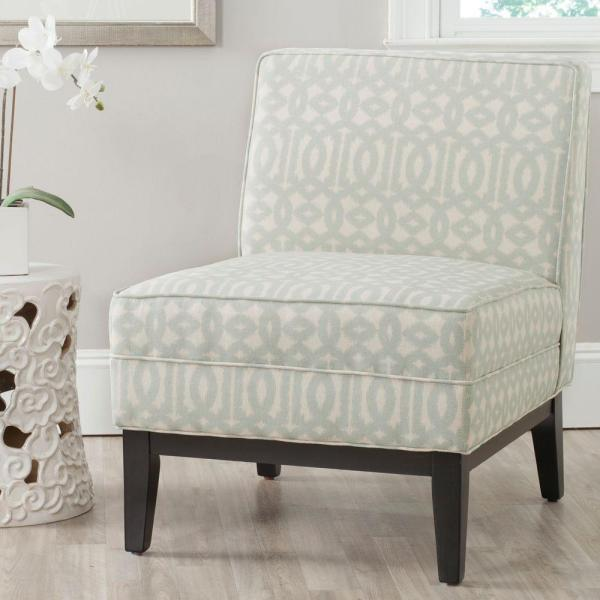 Safavieh Armand Silver and Cream Linen/Cotton Accent Chair MCR1006B
