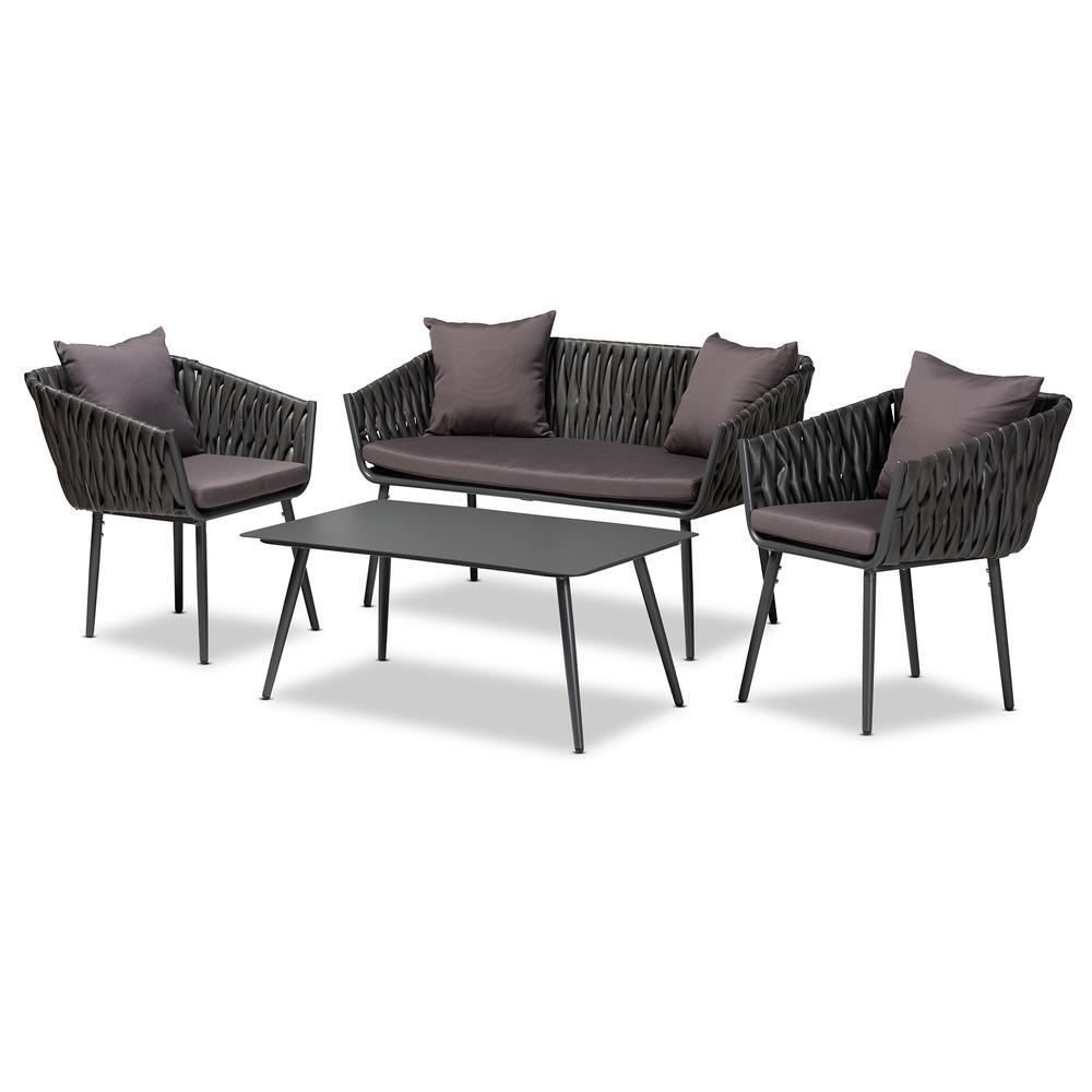Stewart 4-Piece Aluminium Patio Conversation Set with Grey Cushions