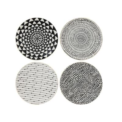 Black and White Stoneware Plate (Set of 4 Designs)