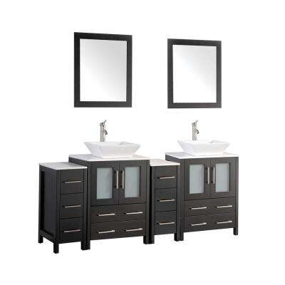 Ravenna 72 in. W x 18.5 in. D x 36 in. H Bathroom Vanity in Espresso with Double Basin Top in White Ceramic and Mirrors