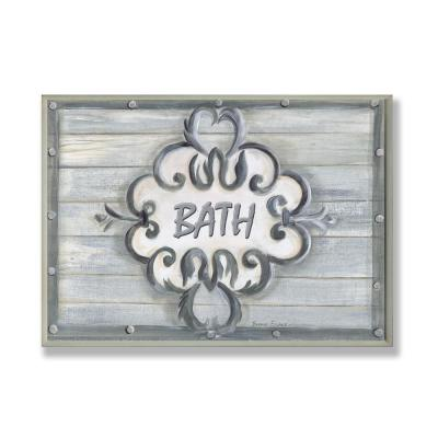 "12.5 in. x 18.5 in. ""Bath Grey Bead Board with Scroll Plaque Bathroom"" by Bonnie Wrublesky Printed Wood Wall Art"