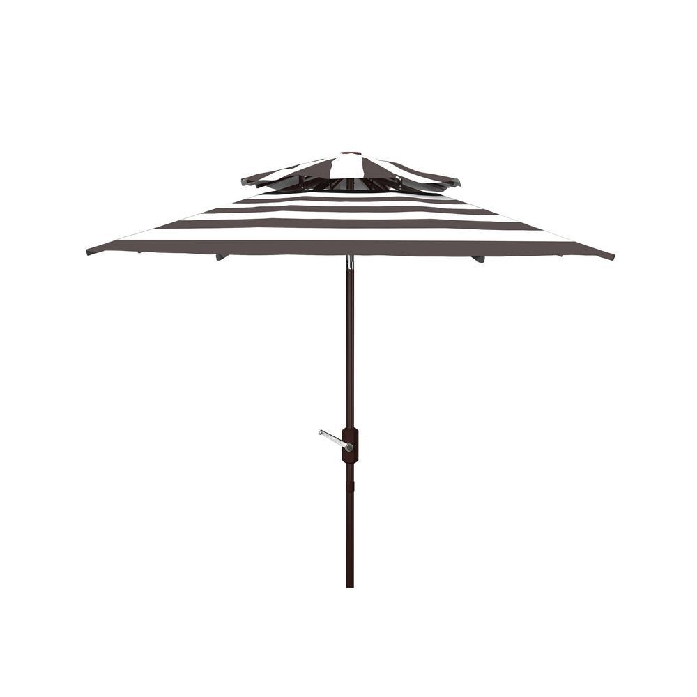 Iris 9 ft. Aluminum Market Tilt Patio Umbrella in Gray/White
