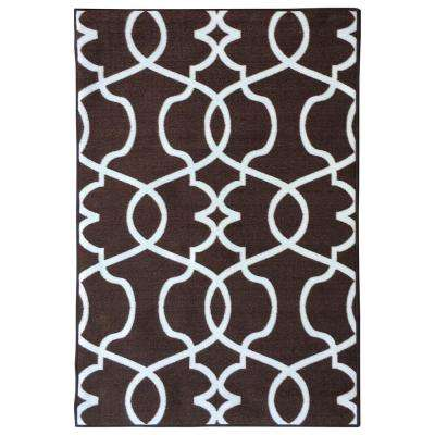Rose Collection Contemporary Geometric Trellis Design Brown 3 ft. x 5 ft. Non-Skid Area Rug