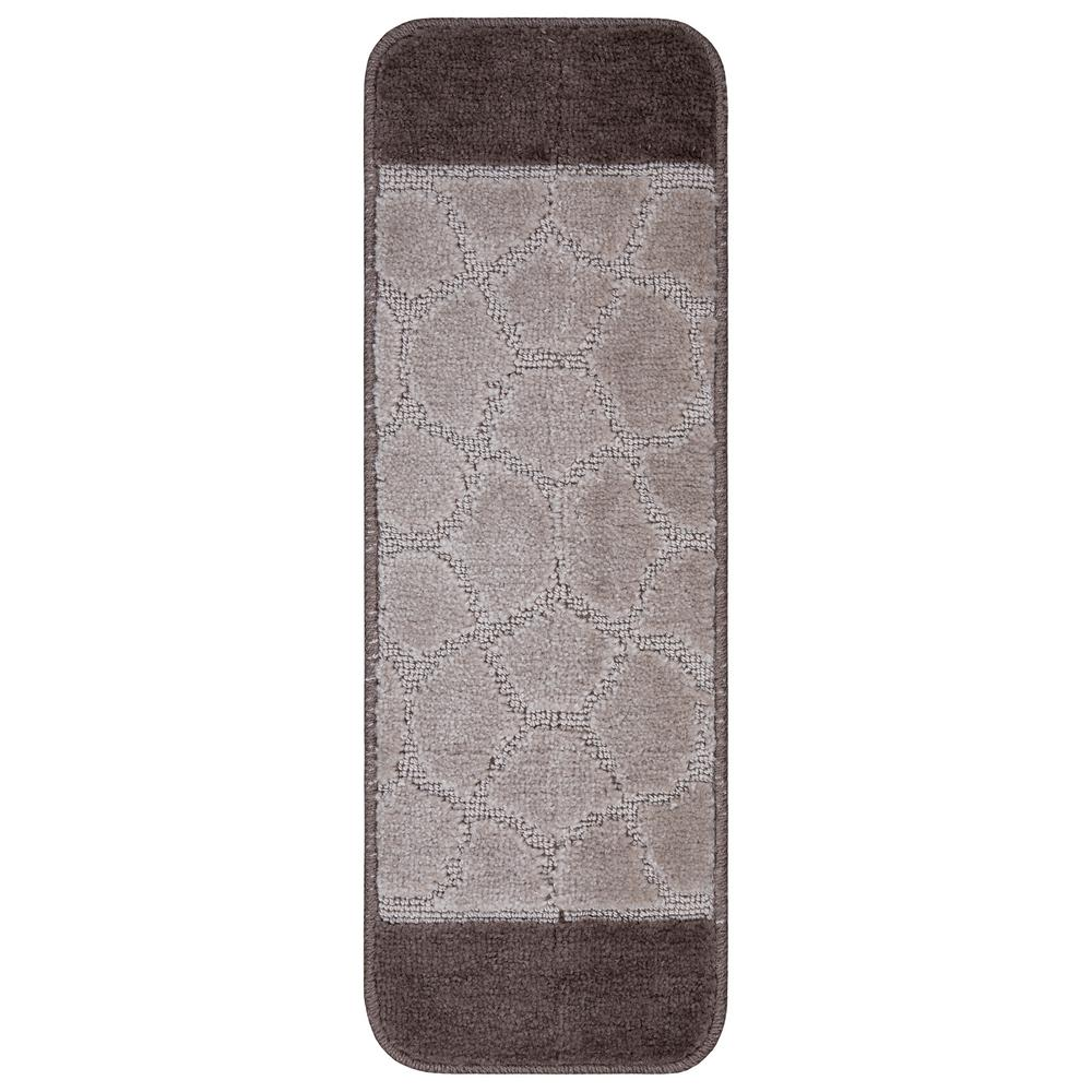 Ottomanson Softy Collection Brown Bordered Design 9 in. x 26 in. Rubber Back Stair Tread Cover (Set of 7)