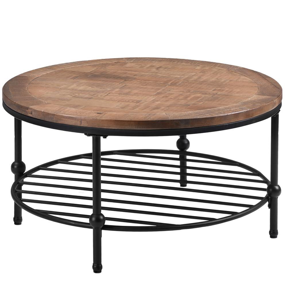 - Boyel Living 18.3 In. Height Rustic Brown Natural Round Coffee