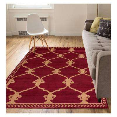 Miami Esplanade Fleur De Lis Royal Trellis Red 8 ft. x 10 ft. Area Rug