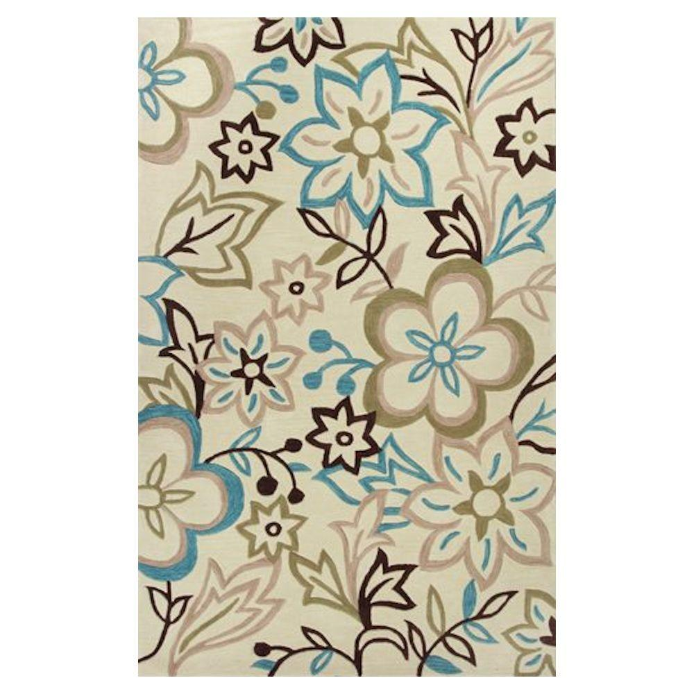 Kas Rugs Best of Spring Ivory/Blue 3 ft. 3 in. x 5 ft. 3 in. Area Rug