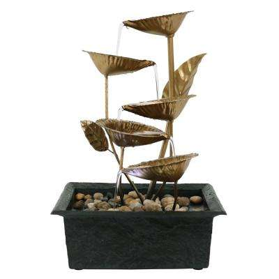 13 in. 5-Leaves Tabletop Tiered Fountain with LED Light