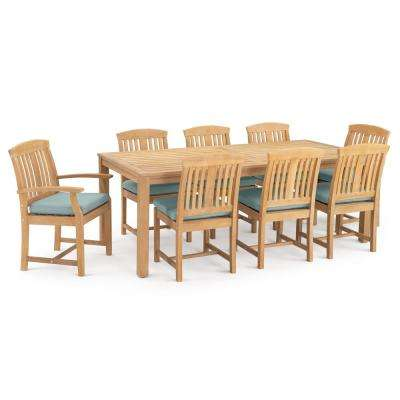 Kooper 9-Piece Wood Outdoor Dining Set with Bliss Blue Cushions