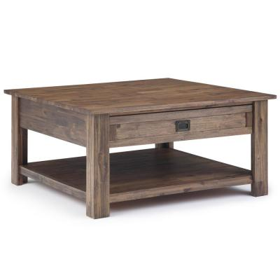 Monroe Solid Acacia Wood 38 in. Wide Square Rustic Contemporary Square Coffee Table in Rustic Natural Aged Brown