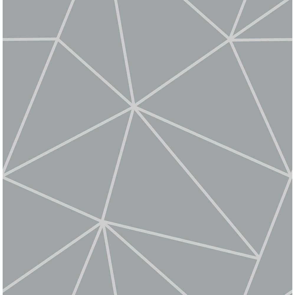 Fine Decor 56.4 sq. ft. Arken Silver Geometric Wallpaper ...