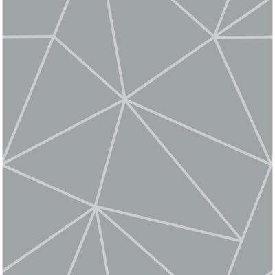 8 in. x 10 in. Arken Silver Geometric Wallpaper Sample