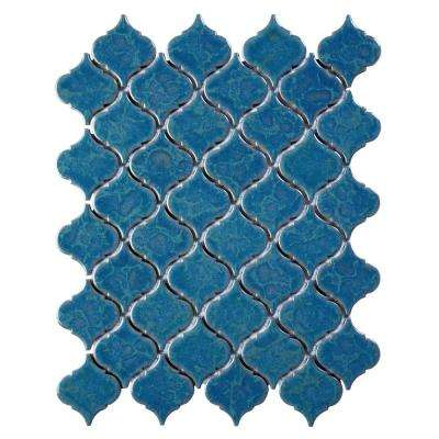 Tessen Brine 10-3/8 in. x 13 in. x 6.35 mm Glazed Blue Porcelain Mosaic Wall Tile (9.37 sq. ft. / case)